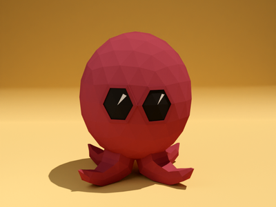 mini octopus octopus character minimalistic lowpoly blender 3d