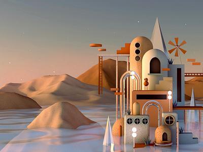 Ocean Landscape illustration design cinema4d c4d blender3d blender 3dillustration 3dart 3d