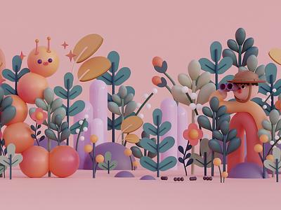 Creatures in the Forest digitalart illustration design cinema4d c4d blender3d blender 3dillustration 3dart 3d