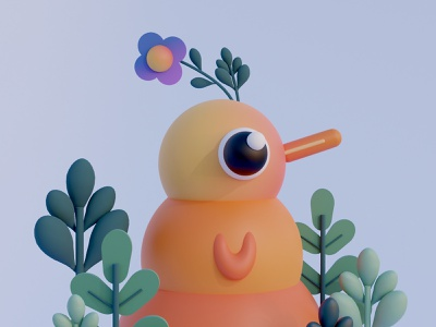 Bird bird digitalart illustration design cinema4d c4d blender3d blender 3dillustration 3dart 3d