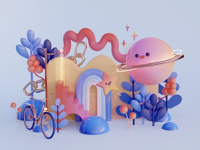 Planetarium stars planet digitalart illustration design cinema4d c4d blender3d blender 3dillustration 3dart 3d