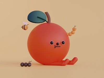 Apple & Friends insects fruit apple food digitalart illustration design cinema4d c4d blender3d blender 3dillustration 3dart 3d