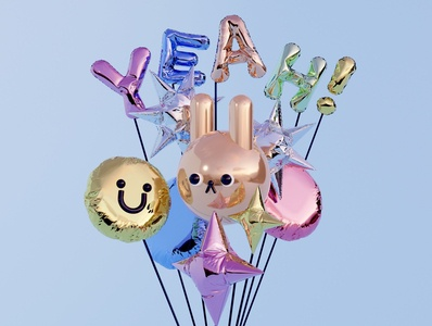 Balloon text shiny texture balloontext balloon digitalart illustration design cinema4d c4d blender3d blender 3dillustration 3dart 3d