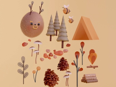 Forest Things mushrooms plants app plants wood camping camp tent forest digitalart illustration design cinema4d c4d blender3d blender 3dillustration 3dart 3d