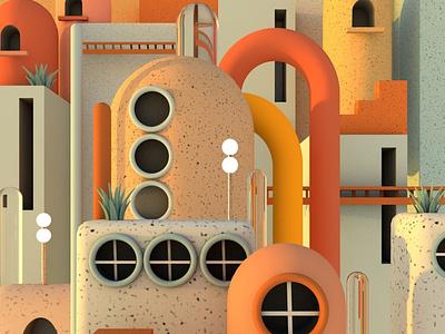 Close up city digitalart illustration design cinema4d c4d blender3d blender 3dillustration 3dart 3d