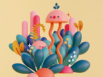 Creatures digitalart illustration design cinema4d c4d blender3d blender 3dillustration 3dart 3d