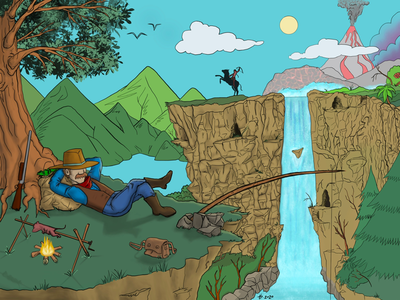 Cowboy - WIP - Procreate digital illustration raster digital art digital painting concept landscape illustration landscape cartoon digital drawing cartoon landscape wip procreate illustration cowboy