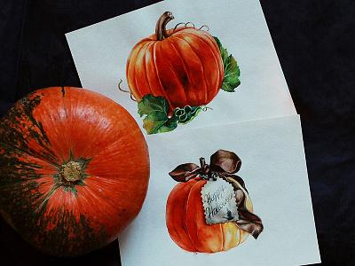 Watercolor halloween pumpkins акварель katherine-dae art halloween pumpkin watercolors watercolorart illustration painting aquarelle watercolor