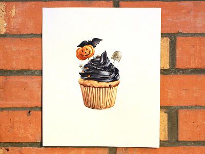 Yummy! Halloween cupcake. 🍭🎃     пирожное тыква акварель cupcake cream art halloween pumpkin illustration aquarelle watercolor