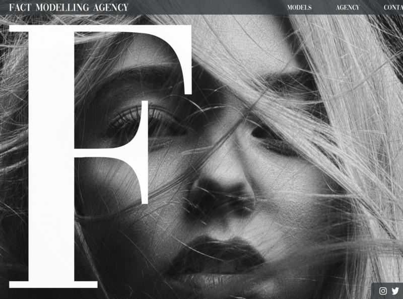 Fact Modelling Agency type graphic design art typography website minimal web branding ui design