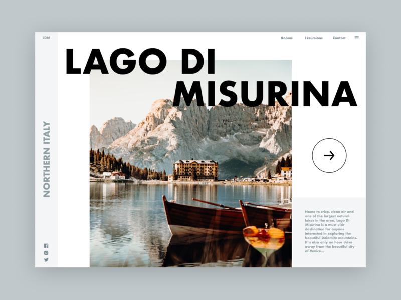 Lago Di Misurina typography minimal landingpagedesign landingpage type website web ui design