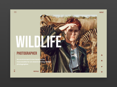 Wildlife Photographer typography ux minimal landingpagedesign landingpage type website web ui design