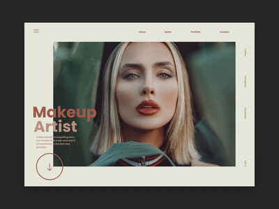 Makeup Artist typography ux minimal landingpagedesign landingpage type website web ui design