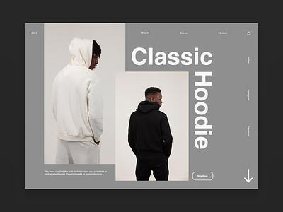 Classic Hoodie typography ux minimal landingpagedesign landingpage type website web ui design
