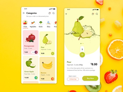 Order Grocery Application - Adobe XD clean design clean ui creative fruit grocery ui uidesign ux mobile app design mobile app design app