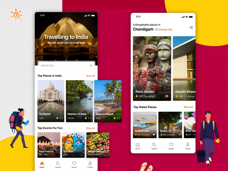 India Travel Guide Mobile App - Adobe XD adobe xd mobile ui travelling app travel app ux creative clean design ui uidesign mobile app design mobile app design app