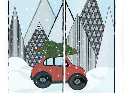 MARRY CHRISTMAS christmas tree december snow holidays happy new year red car vector illustration design art