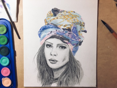 Portrait of a woman in silk scarf headdress watercolor sketch art pencil drawing drawing illustration