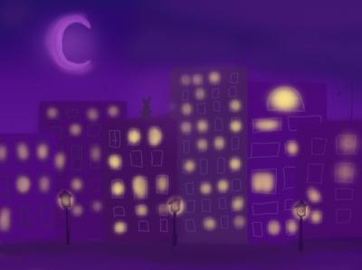 ночной город illustration