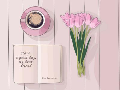 иллюстрация для ВКонтакте Sweet morning