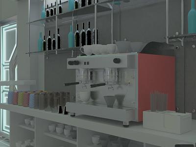 Интерьер для space cafe 3dmax design
