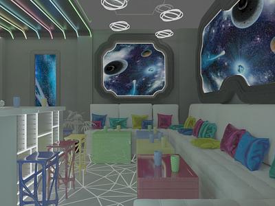 Интерьер для Space cafe 3dmax design cafe