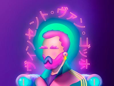I Don´t Hear Heaters adobe photoshop 3d artist procreate digitalart fanart adobe illustrator illustration neon art 3dart 3d animation vincent van gogh