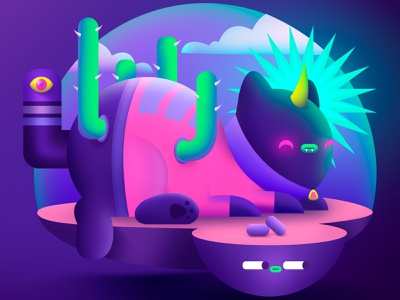 DTIYS Cat-tucs draw neon digital painting digitalart illustration art illustration