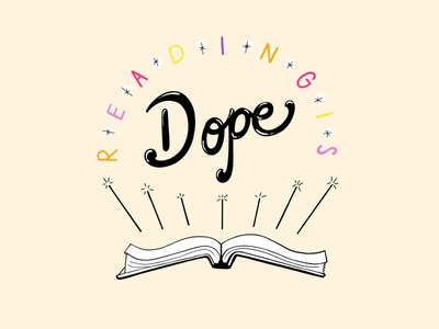 Reading is Dope - Multicolor Palette retro font vintage cartoon books education back to school reading design vector typography hand lettering illustration