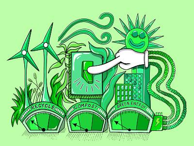 Green and Clean Energy Vector Motif digital art adobe fresco concept design character typography contemporary cartoon illustration motif gradient green tech clean energy energy vector