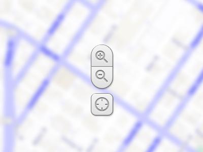 Map Controls skeumorphic skeumorph zoom zoom in zoom out relocate recenter map navigation ui