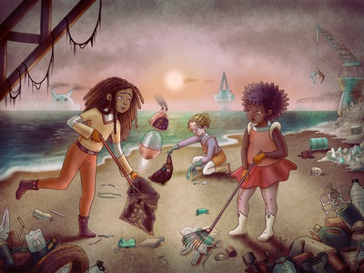 The Grey World climatechange illustration colorful childrens book childrens illustration middle grade  illustration children book illustration recycling recycle pollution