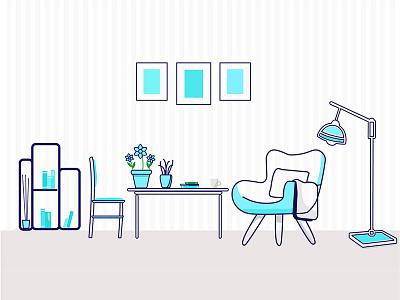 StoryBook Room concept illustrator vector creative blue library room illustration design art