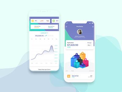 Coinsster App Design crytpo bitcoin flat illustration icon app design ux ui