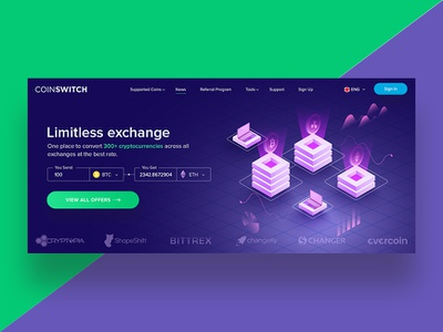 CoinSwitch Landing Page Revamp (In Progress) uidesign web currency exchange bitcoin services crypto currency ui ux graphic design design typography illustrator website