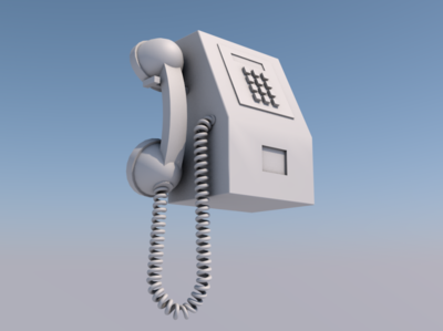 PCO (Public Call Office) retro vintage geometry modelling 3d payphone telephone phone
