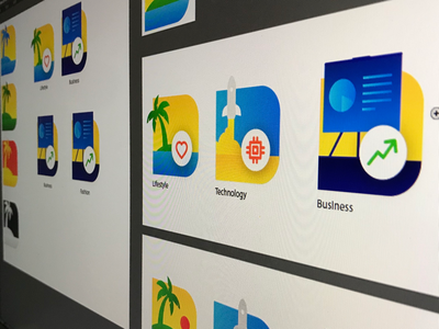 Creating an icon set! branding business technology lifestyle green red blue yellow vibrant set icon
