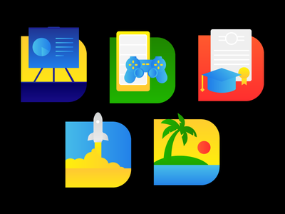 Icon Set! icons sun coconut tree lifestyle vacation science launch space rocket degree education gadgets gaming technology icon