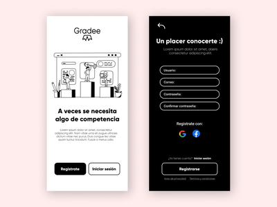 Gradee app UI login page black and white white black web icon branding illustration ui mobile logo design app ux