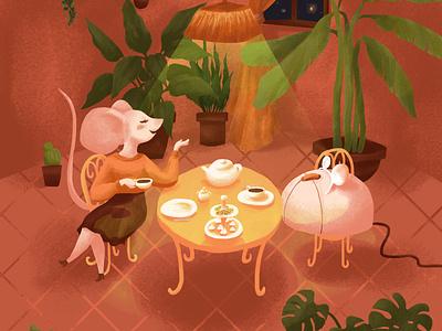Mice having tea digital painting sketch draw drawing illustration art digital illustration digital art illustration