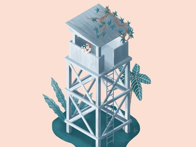 Jungle outpost editorial illustration drawing digital art vector illustration art plant illustration digital illustration illustration