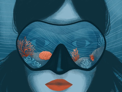 Underwater draw digital art editorial illustration drawing illustration art digital illustration illustration