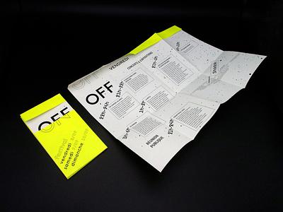 On/Off festival flyer design layout print design communication design festival flyer design branding design