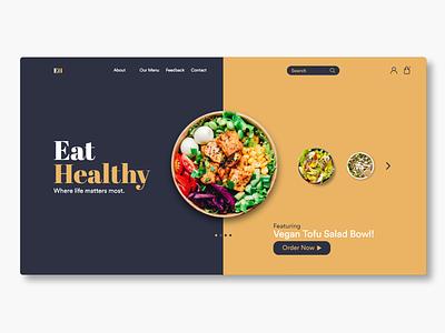Eat Healthy (Web Design) graphic design illustration vector branding website web minimal ux ui design