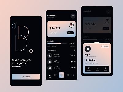 finance: mobile app clean minimal gradient dark bank banking app wallet app finance app finance wallet transaction transactions mobile ui