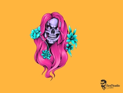 Beautiful Skull Premuim Vector graphic girl design vintage illustration tattoo portrait fashion t-shirt print model horror young mask cyan pink hair beautiful woman skull