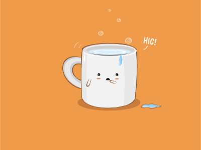 Hic Cup art sam omo funny downsign vector illustration hiccup pun water bubbles mug cup