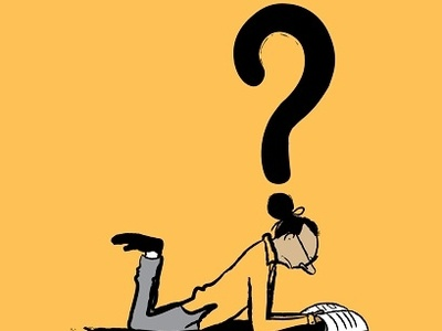 Looking For Answers downsign sam omo art illustration dot man mark question reading searching book