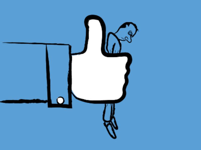 Dis-Like hand downsign illustration sam omo social media blue art thumb up dislike like facebook