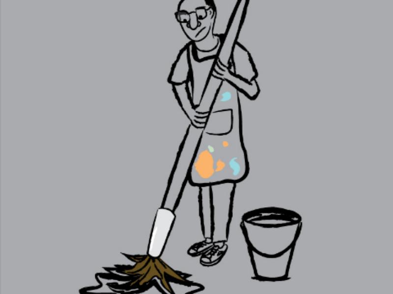 Creative Mess downsign sam omo designer illustrator artist brush pallet art cleaning water paint bucket
